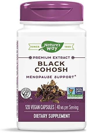 Nature's Way Standardized Black Cohosh, 2.5% Triterpene Glycosides per Serving, 40 mg per Serving, Non-GMO Project Verified, Gluten Free, Vegetarian, 120 Capsules