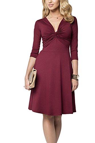 Elegante profundo escote en v Swing acanalada vestido de fiesta de las mujeres Winered