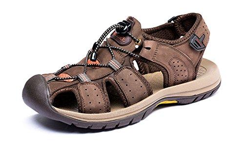 - Respeedime Sandals Men Beach Slippers Leather Outdoor Sport Sandals Wading Shoes Brown 5.5M