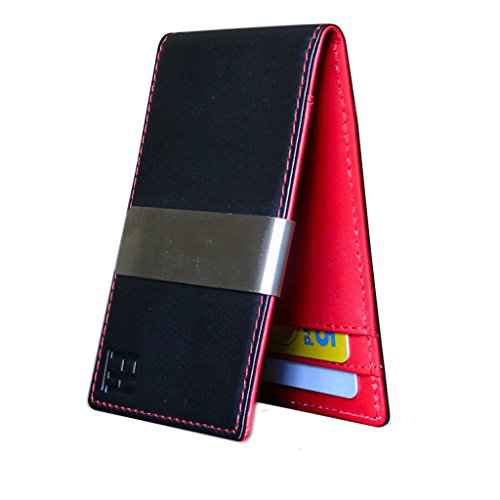 F&H Minimalist Slim Leather Wallet Money Clip Holds 8 Cards (Smooth Black / Red)