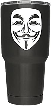 Anonymous Mask White Vinyl Decal | Pack of 2 | Anonymous Stickers V for Vendetta Sticker Guy Fawkes Sticker Hacker Mask Sticker Anonymous | 3 Inch | Decal ONLY Cup NOT Included | D018