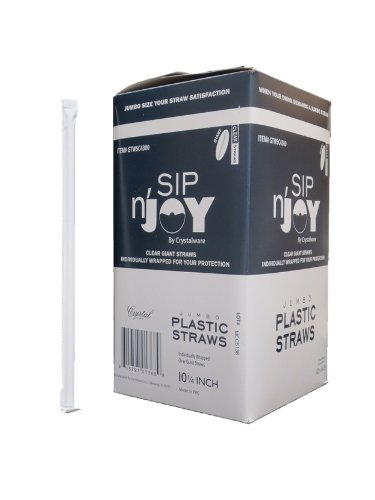 Crystalware Plastic Giant (Jumbo) Straws Individually Wrapped 10-1/4, Clear, 300 per Box
