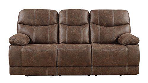 Microfiber Upholstery Living Room (Emerald Home Earl Brown Sofa with Faux Leather Upholstery, Dual Reclining Seats, And Pillow Arms)