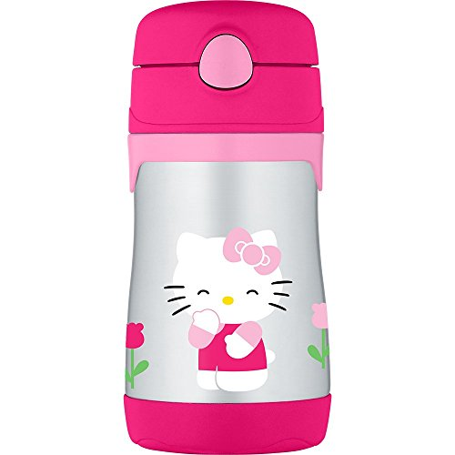 Thermos Vacuum Insulated Stainless Steel 10-Ounce Straw Bottle, Hello Kitty -