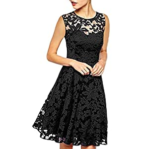ZANZEA Women's Floral Lace Short Bridesmaid Dresses A Line Chiffon Skater Cocktail Evening Wedding Party Mini Dress