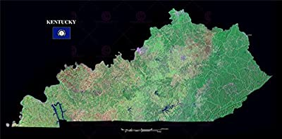 Map County Satellite Usa State Flag Kentucky Large Replica Poster Print Pam1373