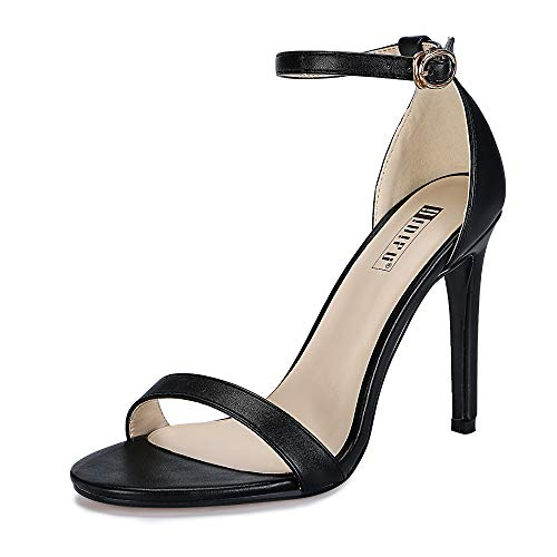 IDIFU Women's IN4 Slim-HI Open Toe Stiletto High Heel Ankle Strap Dress Sandals Party Shoes Black Pu 5.5 M US (High Casual Sexy Shoe Heel)