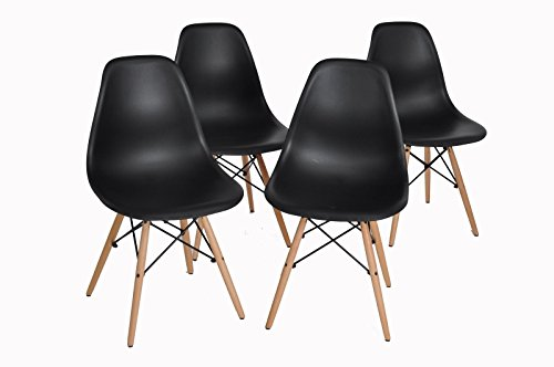 Homycasa Eames Eiffel DSW Style Mid Century Side Dining Chairs Molded Plastic Cover Natural Wood Legs(Set of 4, Black)