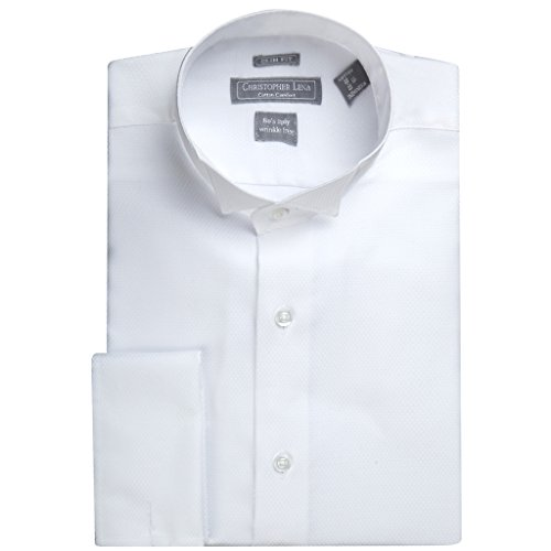 Christopher Lena Men's C514KSOF Slim Fit Wing Tip French Cuff Tuxedo Shirt - White - 18 6-7