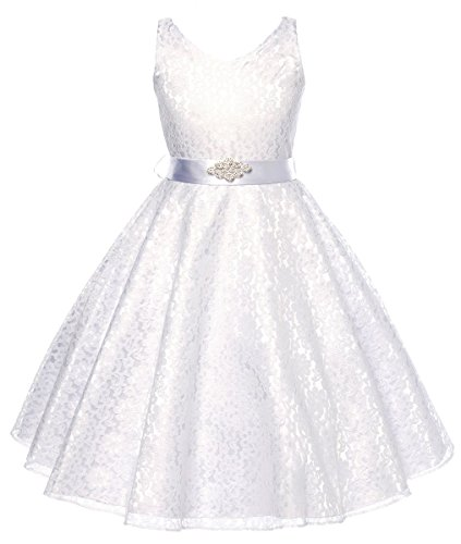DressForLess Lovely Lace V-Neck Flower Girl Dress , White, 16]()