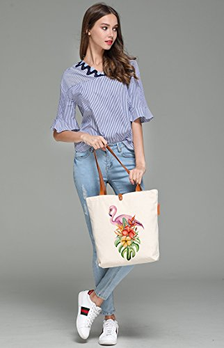 So'each Women's Flamingos Flowers Graphic Canvas Tote Handbag Shopper Bag