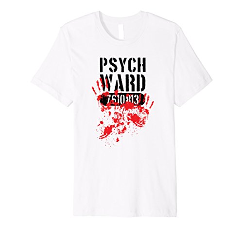 Mens Psych Ward Halloween Costume Bloody Hand Prints Tee Large White