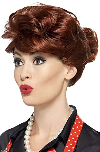 Smiffys Women's Auburn Wig with Bun, One Size, 50's Housewife Wig, 43701]()