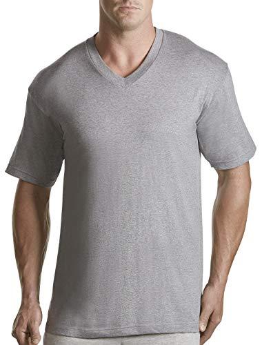 (Harbor Bay by DXL Big and Tall 3-pk. V-Neck T-Shirts, Grey 2X Tall)