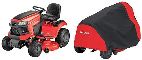 Craftsman T225 19 HP Briggs & Stratton Gold 46-Inch Gas Powered Riding Lawn Mower and Lawn Mower Cover, Medium