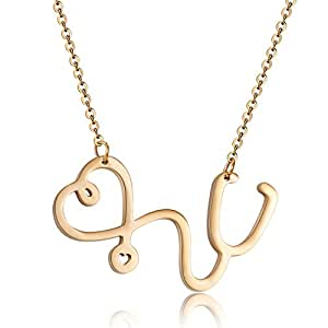 Rosa Vila Stethoscope Inspired Necklace, Thoughtful Gift For Nurses, Physician Assistants, and Doctors, Medical Student Jewelry, Nurse Heart Necklace (Gold Tone)
