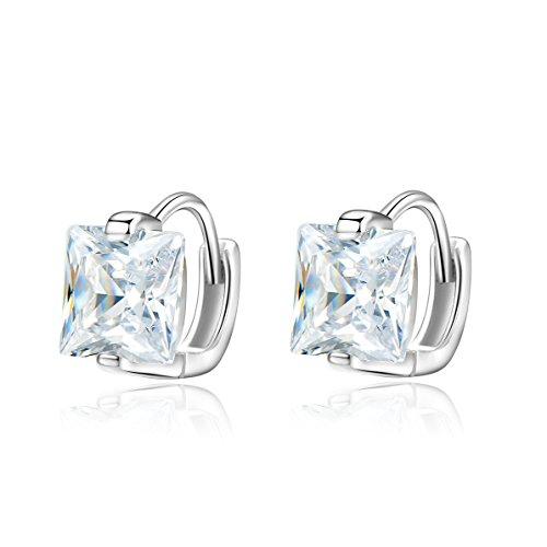 925 Sterling Silver Cubic Zirconia Hinged Huggie Hoop Earrings Mini Hoops For Men ()