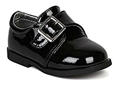 Auston AH59 Leatherette Velcro Buckle Strap Dress Church Shoe (Infant / Baby Boy) - Black (Size: Toddler (Dressy Toddler Shoes)