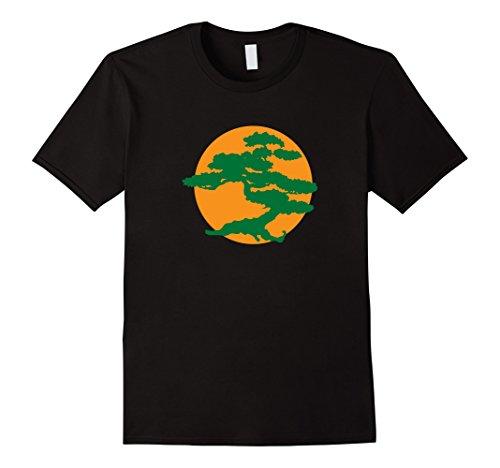 Mens Japanese Bonsai Tree & Orange Sun Graphic Zen T-Shirt Large Black