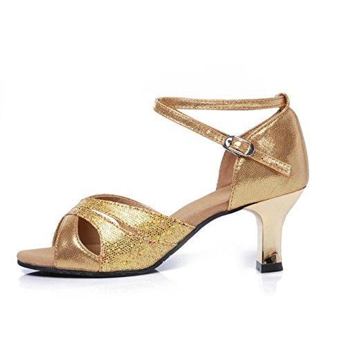 Sandalia Mujeres Fondo Zapatos Blando Mediados WYMNAME Social De Baile Baile Zapatos De Dorado Tacones Latino De Baile Zapatos aOdq0w