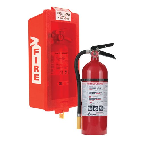 - Kidde Fire Extinguisher with Cabinet, Red Tub/Red Cover