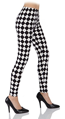 Underwraps Costumes Women's Harlequin Leggings, Black/White, Medium (Cute Clown Costume Diy)