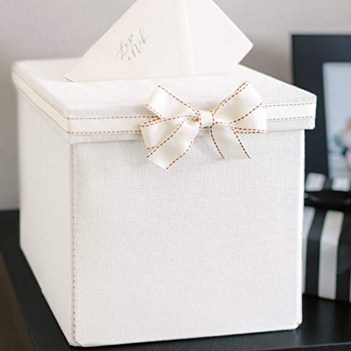 FLUYTCO Wedding Card Envelope Box – Thick Linen Fabric & Removable Ribbon Bow – Collapsible – Perfect for Weddings, Baby Showers, Birthdays, Graduations – Large Size, 100+ Cards