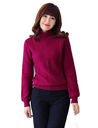 Xiouli Women Casual Cowl Neck Cashmere Sweater Pullover Top 18U5610(S,Red wine)
