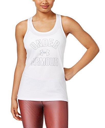 Under Armour UA Women's Tech Wordmark Racerback Tank Top (White, X-Large)