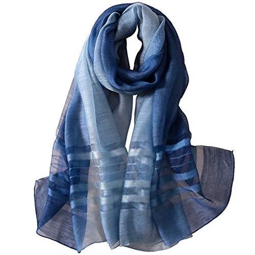 Alysee Women Soft Warm Silk&Wool Mixed Stripes Scarf Shawl Headwrap Navy Blue