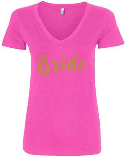 Bride Womens Pink T-shirt - Threadrock Women's Bride Gold Script V-Neck T-Shirt XL Hot Pink