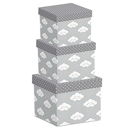 dcasa - Juego 3 cajas regalo diseño original NUBES