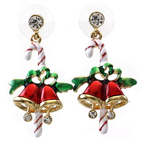 - SoulBreezeCollection Candy Cane Christmas Jingle Bells Earrings Winter Gift Stuffers Stud Enamel