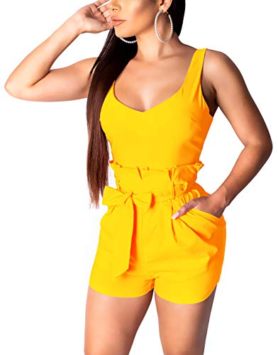 - SxClub Women's Cute Scoop Neck Short Pants Rompers Casual Strap Sleeveless High Waist Ruffles Overalls Sexy Backless Stretchy Comfy Clubwear Jumpsuits Waistband Side Pockets Yellow