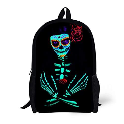 Pinbeam Backpack Travel Daypack Young Girl Santa Muerte Saint Death Sugar Skull Waterproof School Bag -