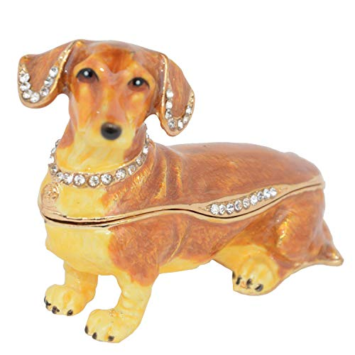 Lilly Rocket Collectible Trinket Box with Rhinestone Bejeweled Swarovski Crystals - Brown Dachshund -