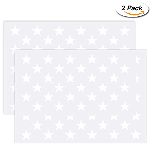 Painting Shapes Wall (Frienda 2 Pack American Flag 50 Star Field Stencil Template for Painting Crafts Reusable on Wood, Paper, Fabric, Glass, and Wall Art)