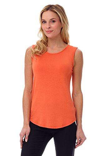 Rekucci Women's Soft Jersey Knit Sleeveless Tank Top (S-XXL) (X-Large,Nectarine)