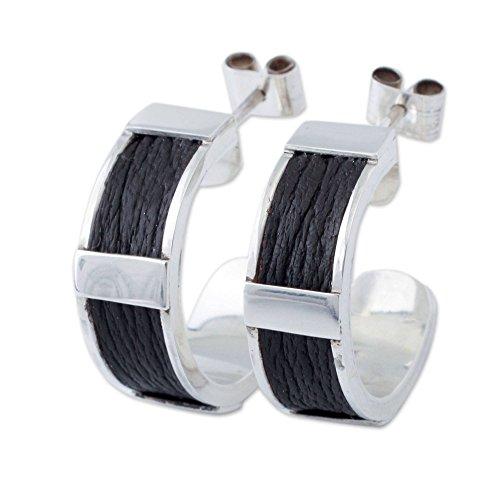 NOVICA .925 Sterling Silver Leather Half Hoop Earrings 'Leather Minimalist'
