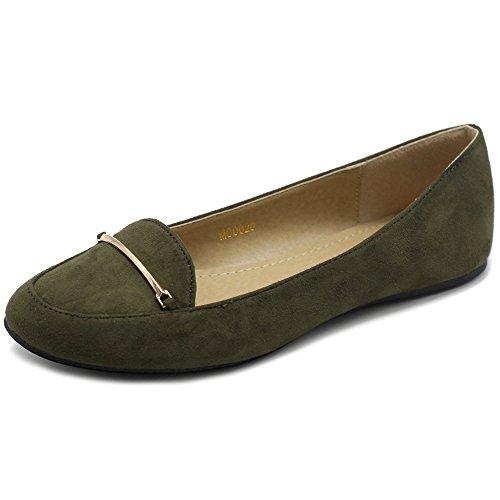 Ollio Kvinners Skoen Lett Komfort Imitasjon Av Semsket Gullband I Ballerina  Olive. sko; syntetisk; syntetisk såle; dekorative bånd ...
