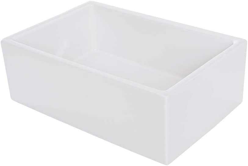 Single Bowl Farm, Farmhouse Apron Front Fireclay Kitchen Sink, 33 , White