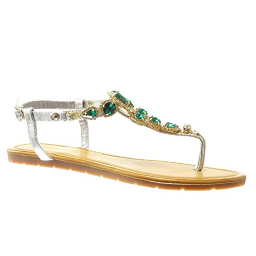 Angkorly - Chaussure Mode Sandale Tong salomés femme bijoux strass diamant Talon plat 1.5 CM - Vert