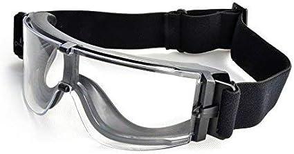 Gafas tácticas Ganzoo (para paintball/airsoft) gafas de seguridad de cristal transparente, correa ajustable de cuero color negro