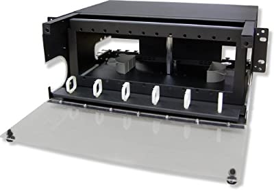 Lynn Electronics 4U Fiber Optic Rackmount Enclosure Panel, holds 12 LGX footprint panels or modules for a maximum capacity of 288 fibers. Fits 19 and 23 inch racks.