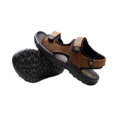 Des air Marron De Meijunter Antidérapant Chaussons Cuir Plage Clair Chaussures Homme Respirant sandales Décontractée plein pzOzfET