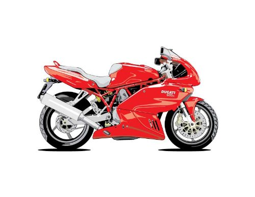 Vehicle Wall Decals Red Ducati Motorcycle 12 Inch Removable