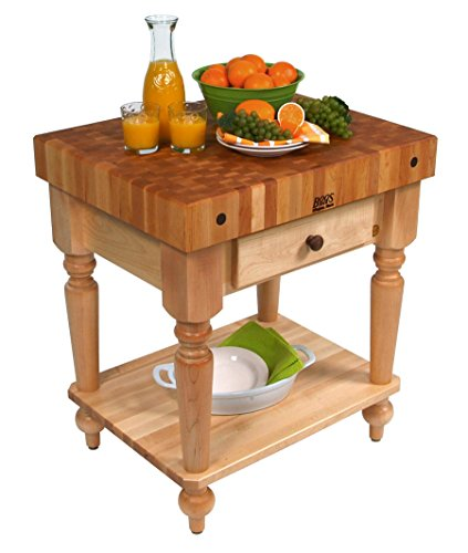 John Boos Maple Rustica Butcher Block with Solid Shelf - 48