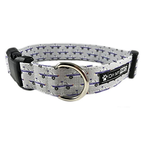 Police Car Print Dog or Cat Collar for Pets Size Extra Small with Extra Length 5/8'' Wide and 7-13'' Long by Oh My Paw'd by Oh My Paw'd