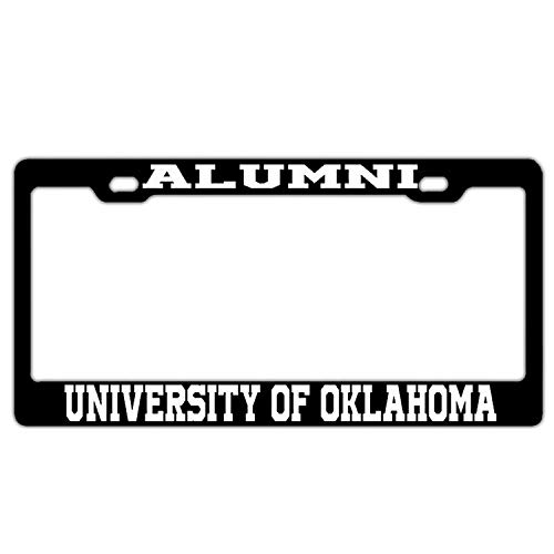 XYcustomBest Personalized Black Stainless Steel Car License Plate Frame with Free Caps, Alumni University of Oklahoma Black, 2 Holes with Screws Slim Stainless Steel Metal
