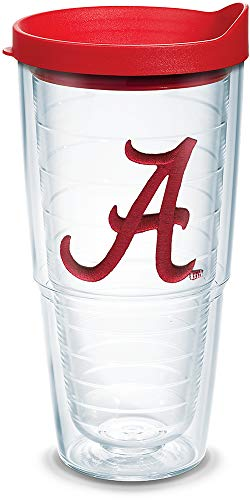 Tervis 1084186 Alabama Crimson Tide Script A Tumbler with Emblem and Red Lid 24oz, Clear